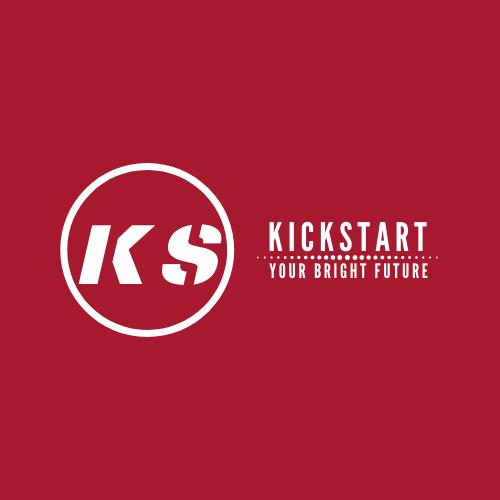 Logo of Kickstart. red background with white writing.